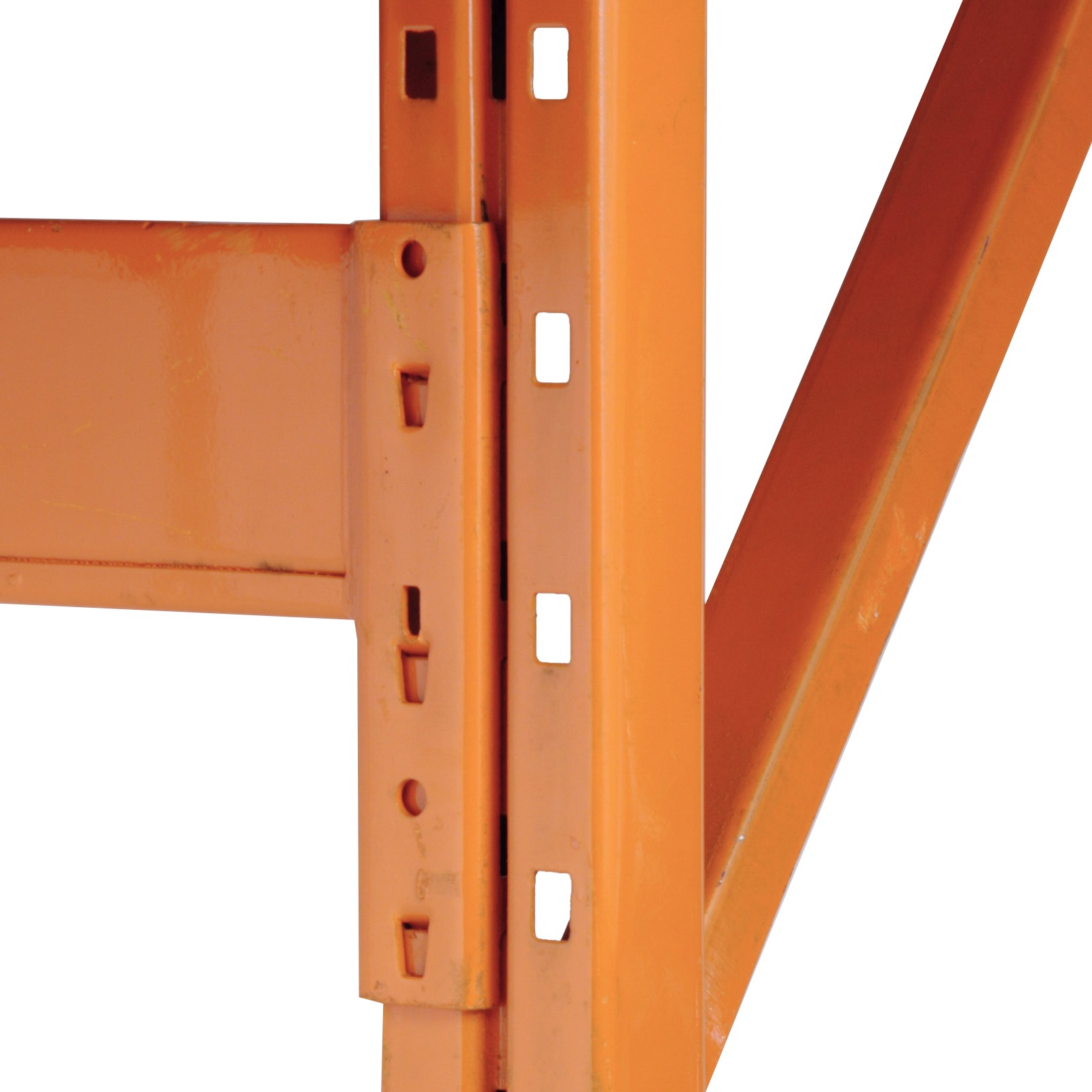 The Redirack upright frames feature rectangular face punch-out slots and side holes to accept the hooks on the Redirack beams.