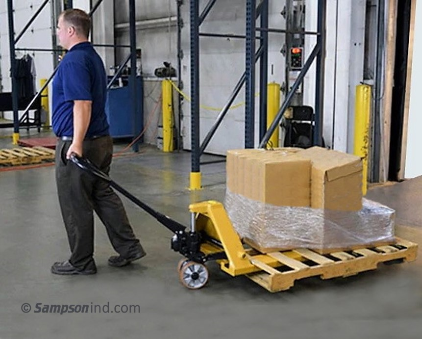 A manually operated hand pallet truck