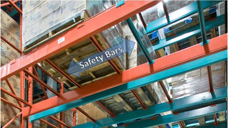 Safety bars span between the beams (or cross bars), adding stability to the structure and undergirding for the pallets to rest on.