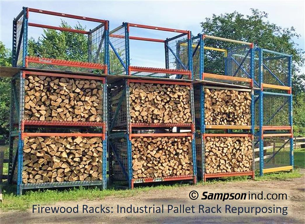 Firewood rack - Re-purposed industrial pallet racking