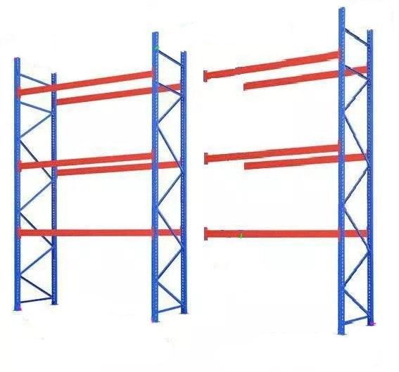 Beams (or cross bars) are attached to the upright frames, spanning horizontally between uprights.
