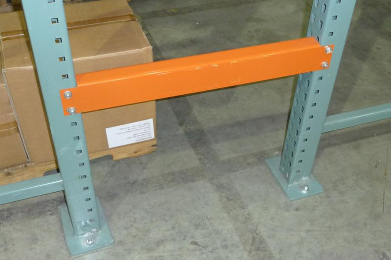 An example of an industrial pallet racking Row Spacer being used between two rows of racking.
