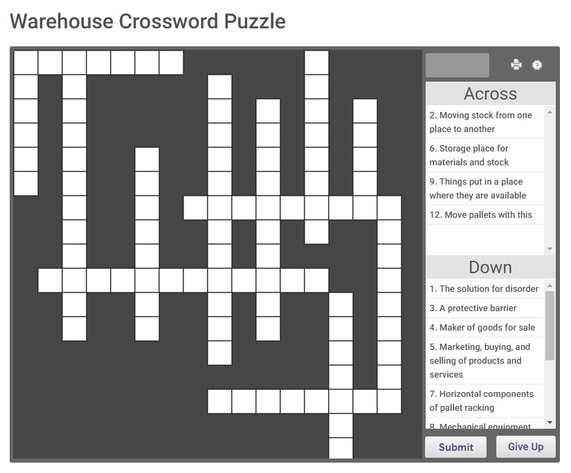Warehouse Crossword Puzzle